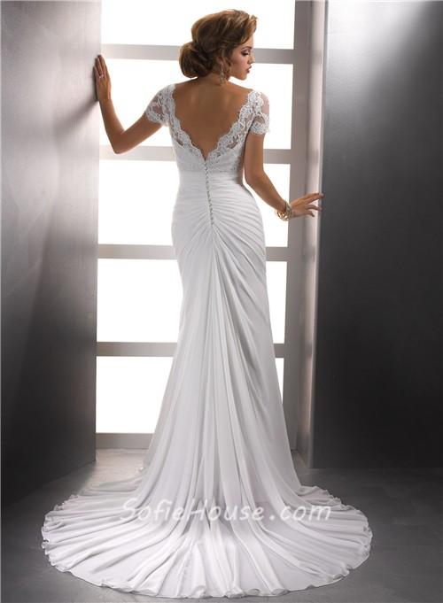 Elegant sheath v neck lace chiffon summer wedding dress for Sheath v neck wedding dress