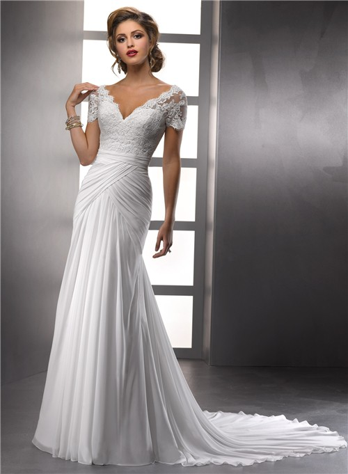 Elegant sheath v neck lace chiffon summer wedding dress for Short sheath wedding dress