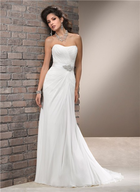 Simple A Line Strapless Chiffon Wedding Dress With Crystal Sash
