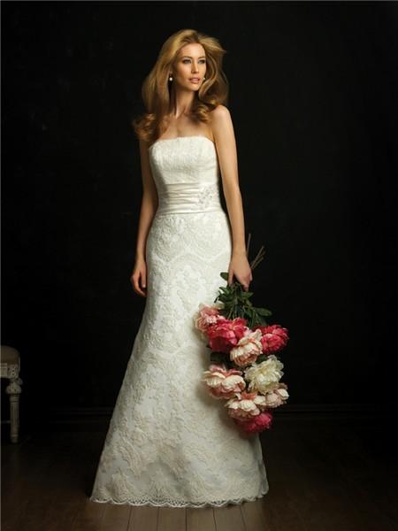 Elegant simple a line strapless lace wedding dress with for Strapless lace wedding dress a line