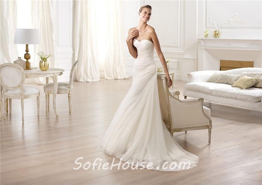 Simple A Line Sweetheart Taffeta Wedding Dress With: Elegant Simple A Line Sweetheart Ruched Tulle Wedding