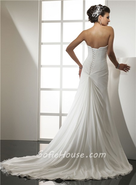 Elegant simple mermaid sweetheart chiffon wedding dress for Simple courthouse wedding dress