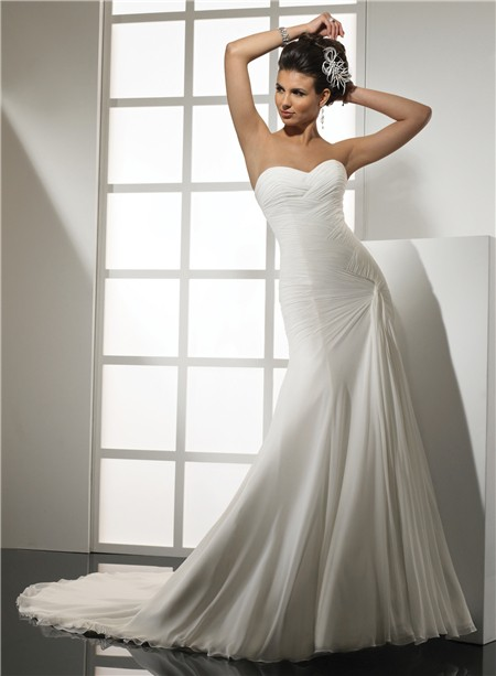 Simple Mermaid Sweetheart Chiffon Wedding Dress With Pleat Court Train