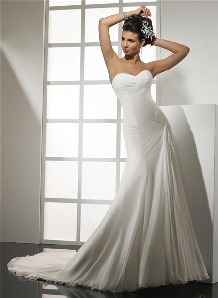 Elegant simple mermaid sweetheart chiffon wedding dress for Chiffon sweetheart wedding dress
