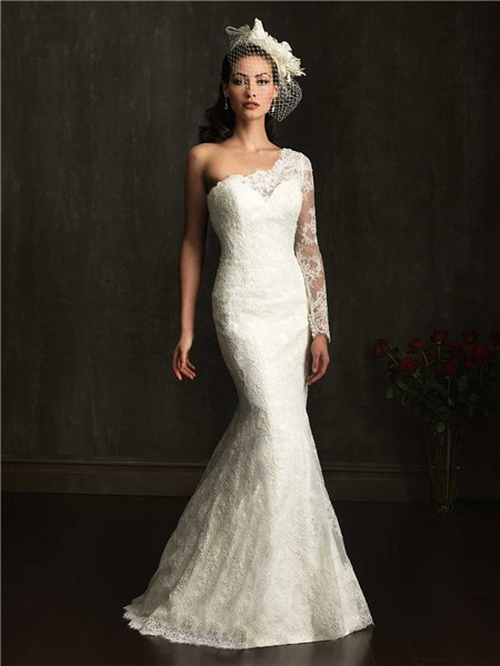 Slim Mermaid One Shoulder Lace Wedding Dress With Sleeve Buttons