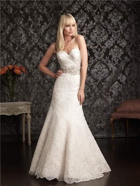 Elegant slim mermaid sweetheart satin lace wedding dress for Pearl belt for wedding dress