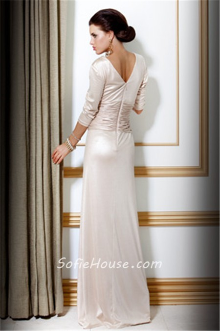 Elegant Slim Sheath V Neck Long Ivory Silk Evening Dress With Sleeve