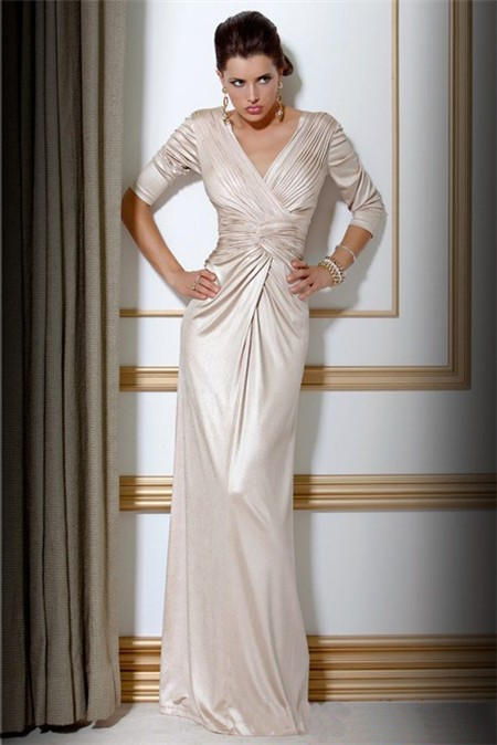 Elegant Slim Sheath V Neck Long Ivory Silk Evening Dress