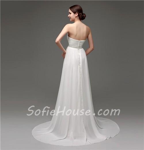 Elegant strapless empire waist chiffon beach wedding dress for Empire waist beach wedding dress