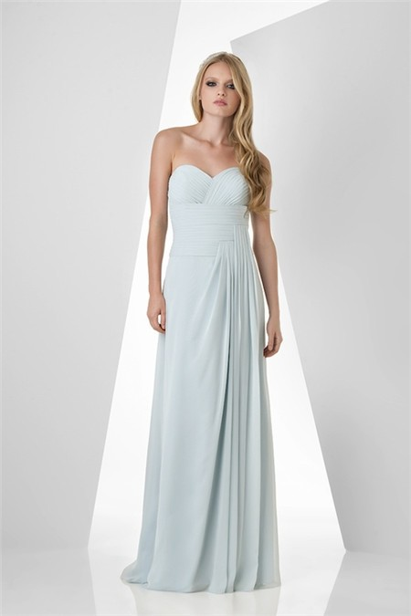 Pale blue chiffon bridesmaid dresses for Baby blue wedding guest dress