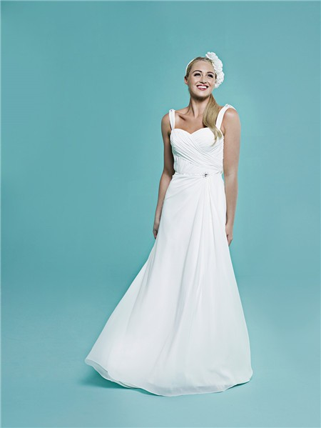 Elegant Sweetheart Cowl Open Back Ruched Chiffon Wedding Dress With ...