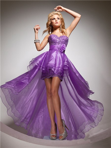 Elegant Sweetheart High Low Purple Organza Party Prom