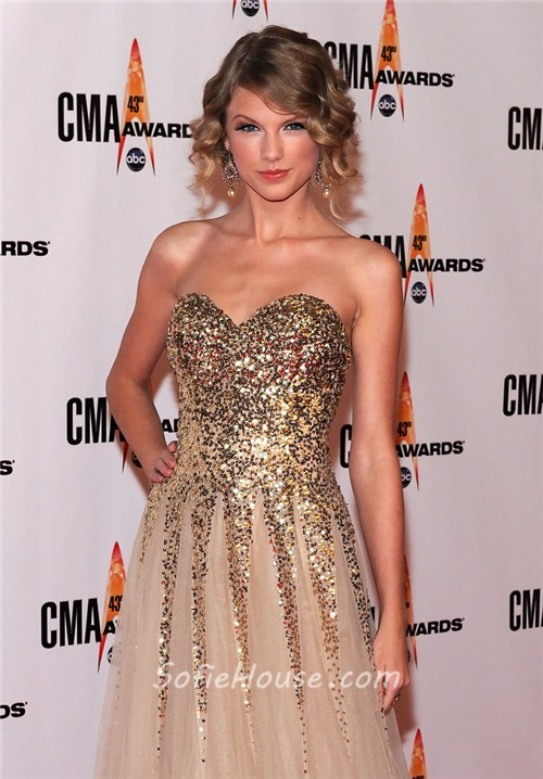 Elegant Sweetheart Long Gold Sequined Taylor Swift Red Carpet ...