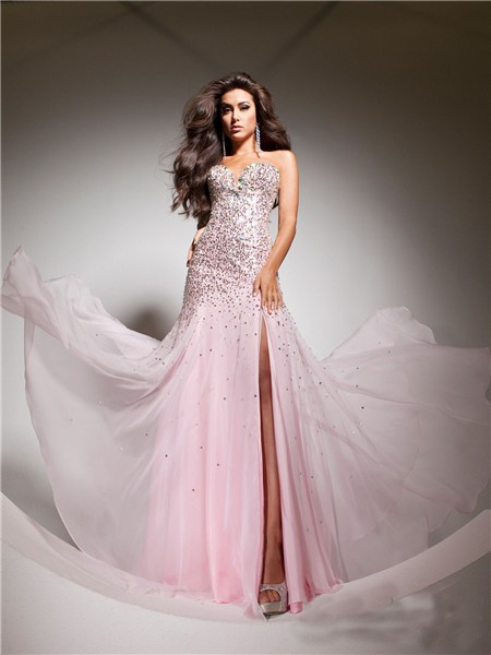 Elegant Sweetheart Pink Beaded Sequins Chiffon Flowy Prom Dress ...
