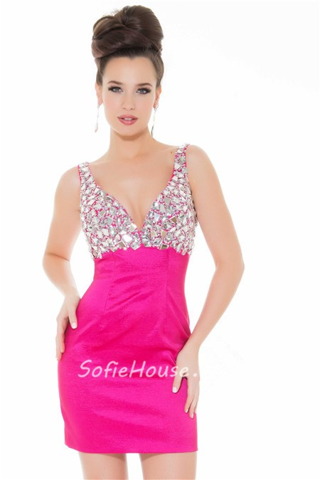 914484a3736 ... Elegant Tight Sweetheart Short/ Mini Hot Pink Beaded Homecoming Prom  Dress