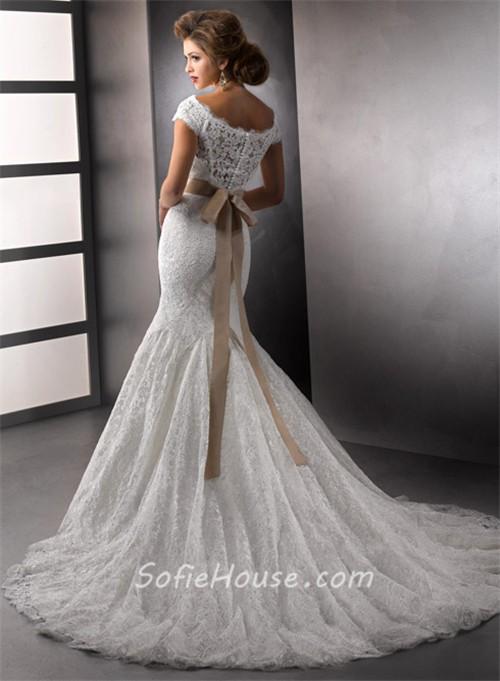 elegant trumpet mermaid bateau cap sleeves white lace