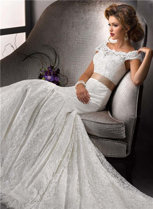 Elegant Trumpet Mermaid Bateau Cap Sleeves White Lace Wedding Dress With Sash Ons