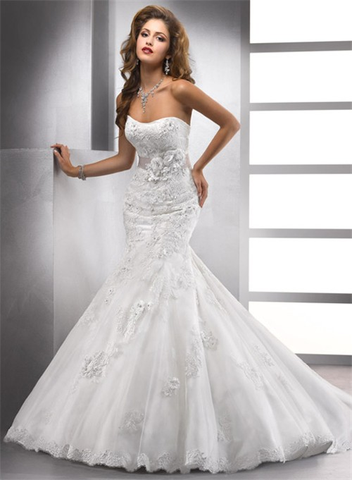 elegant trumpet mermaid sweetheart beaded lace wedding dress with