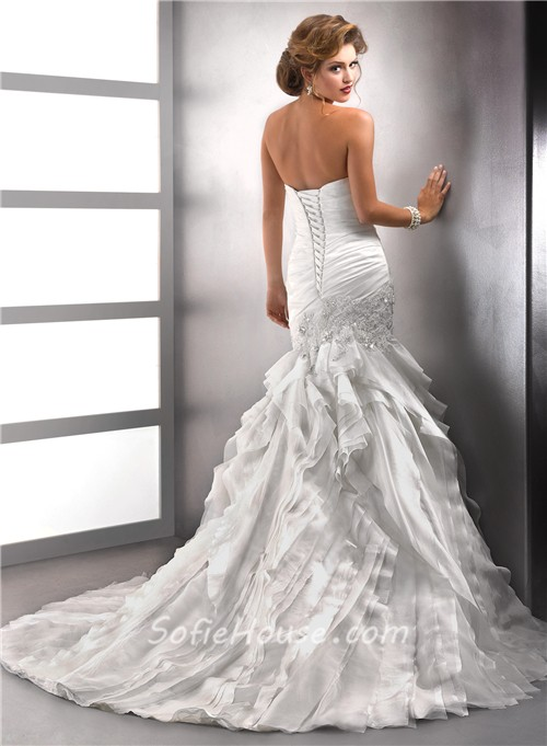 Elegant Trumpet Mermaid Sweetheart Tiered Organza Wedding Dress With Beaded Crystals Lace