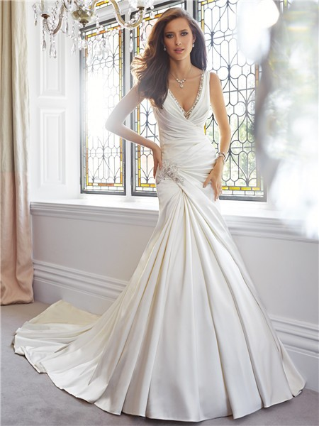 Elegant Trumpet Mermaid V Neckline Draped Satin Wedding