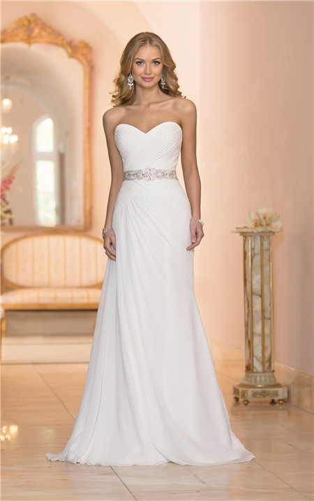 Elegant trumpet strapless chiffon ruched corset wedding for Strapless bustier for wedding dress