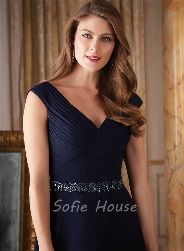 elegant mother of the bride chiffon dress v neck