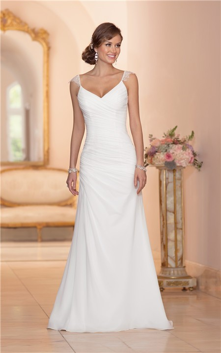 Elegant v neck open back chiffon draped wedding dress with for V back wedding dress