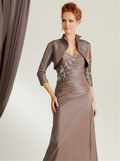 mermaid sweetheart floor length brown taffeta mother of the bride ...