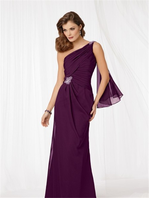one shoulder floor length purple chiffon mother of the bride dress