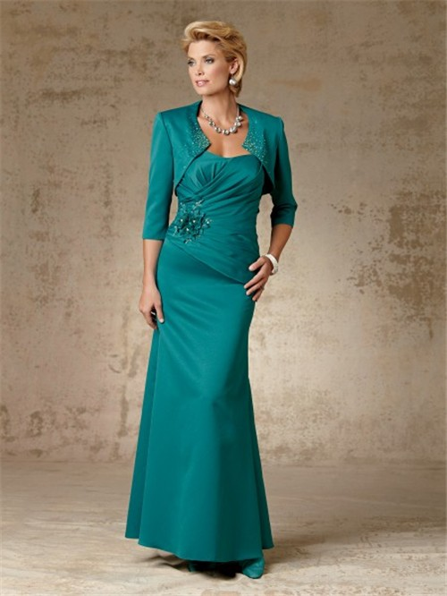 Elegant sheath long jade taffeta mother of the bride dress with jacket