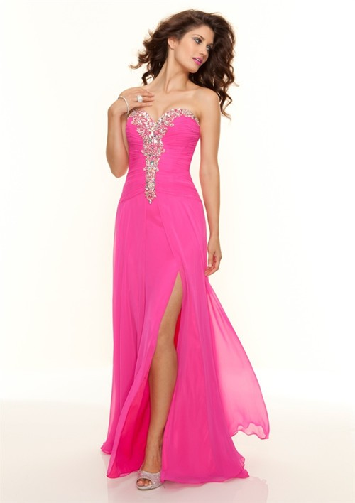 sweetheart floor length hot pink chiffon prom dress with beading
