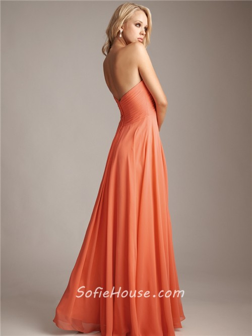 Elegant sweetheart floor length long coral silk chiffon for Long silk wedding dress