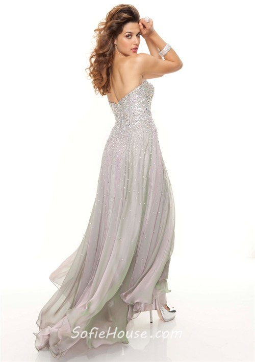 Elegant sweetheart floor length silver chiffon prom dress with beads
