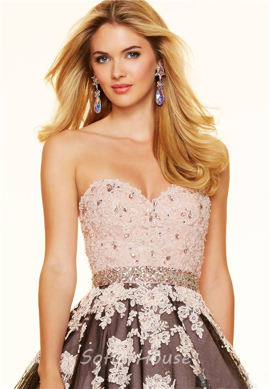Elegnat Ball Gown Black Tulle Blush Pink Satin Lace Prom