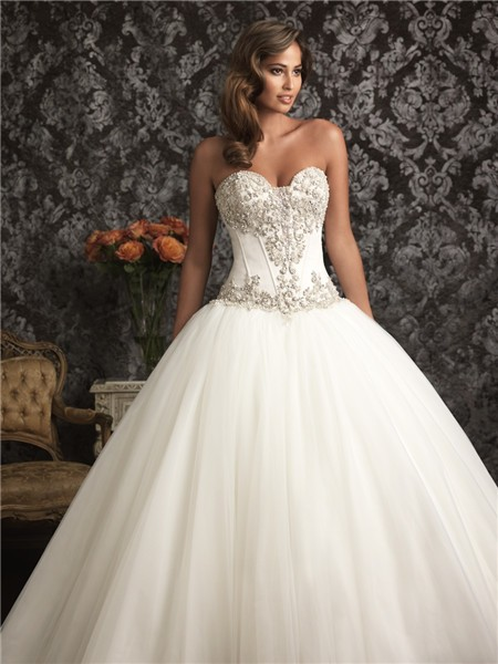 Exquisite ball gown sweetheart organza satin corset for Wedding dresses with a corset