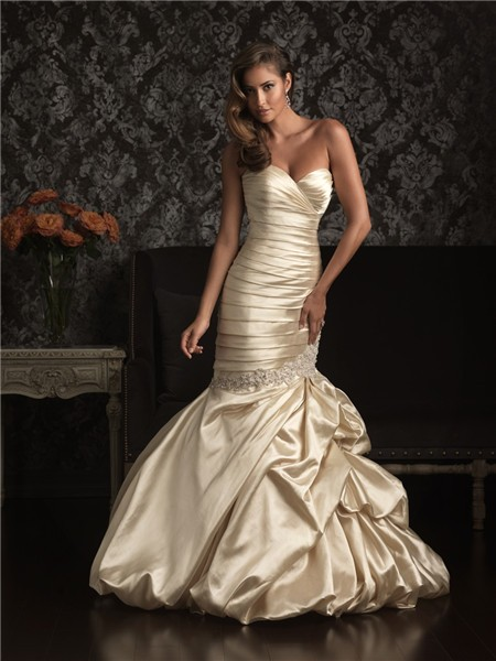 Mermaid Sweetheart Champagne Silk Ruched Wedding Dress With Pick Up ...