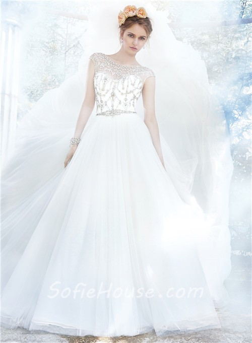 Fairy ball gown bateau neckline backless tulle crystal for Fairytale ball gown wedding dresses