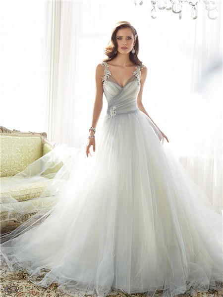 Ball Gown Illusion V Neckline Grey Tulle Lace Applique Wedding Dress ...