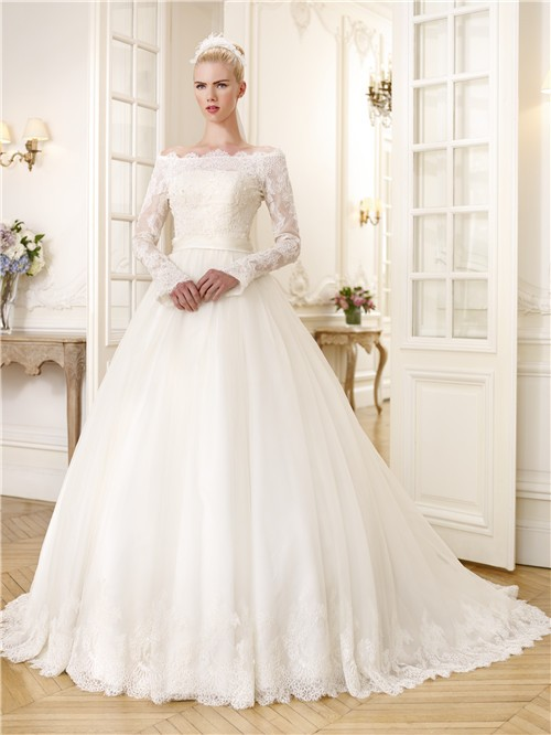 Ball Gown Off The Shoulder Long Sleeve Organza Lace Wedding Dress ...