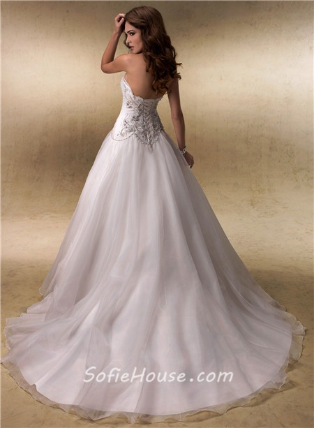 Fairy ball gown sweetheart satin tulle beaded crystals for Fairytale ball gown wedding dresses