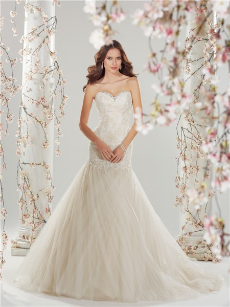 Fairy fit and flare mermaid sweetheart ivory tulle lace for Fit and flare tulle wedding dress