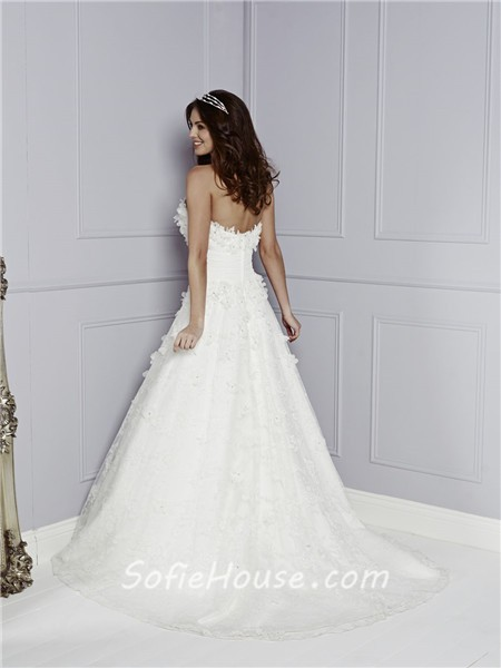 Fairy Princess A Line Strapless Sweetheart Lace Floral ...