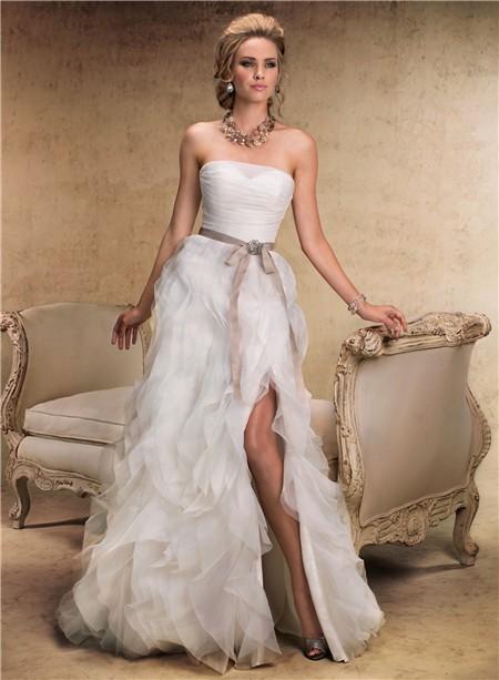 Fairy Tale A Line Strapless Layered Organza Ruffle Wedding Dress ...