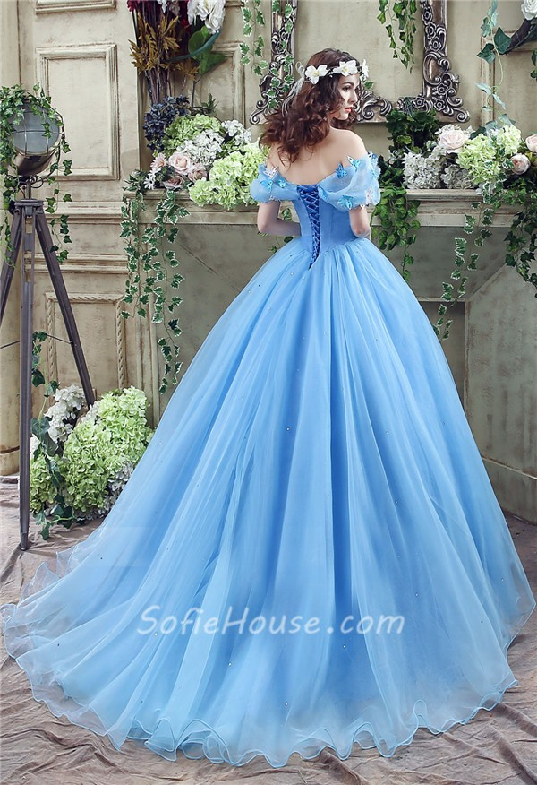 Fairy Tale Ball Gown Off The Shoulder Blue Organza Corset Wedding Dress
