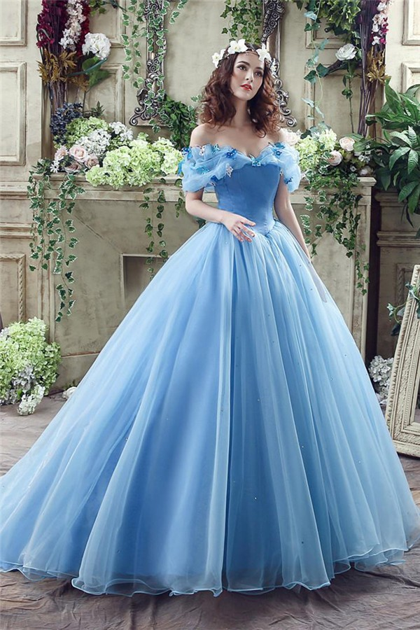 Tale Ball Gown Off The Shoulder Blue Organza Corset Wedding Dress