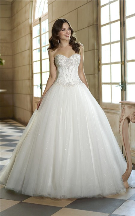 Tale Ball Gown Satin Lace Tulle Sequin Corset Wedding Dress