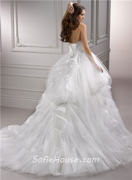 Fairy tale ball gown sweetheart puffy tulle wedding dress for Fairytale ball gown wedding dresses