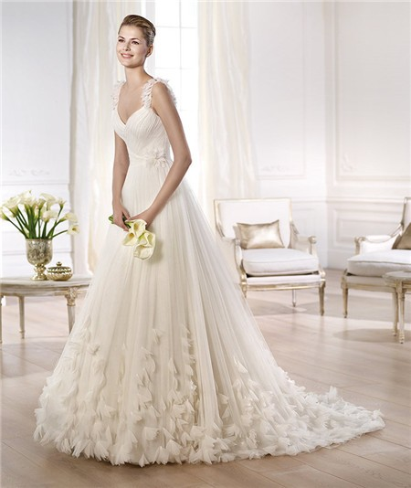 Tale Princess A Line V Neck Tulle Organza Petal Wedding Dress With ...
