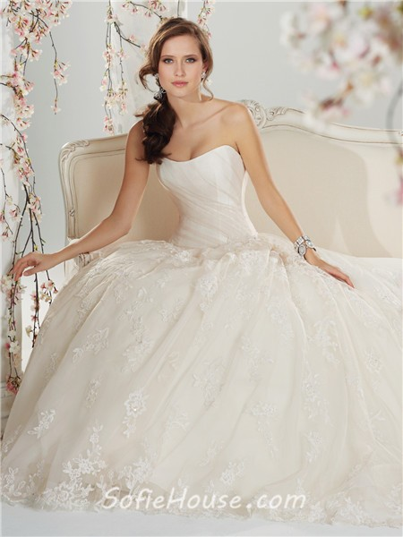 Fairytale a line princess scooped strapless corset back for Princess corset wedding dresses