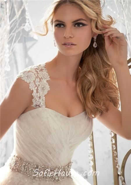Princess detachable cap sleeve wedding dress with crystal pearls sash